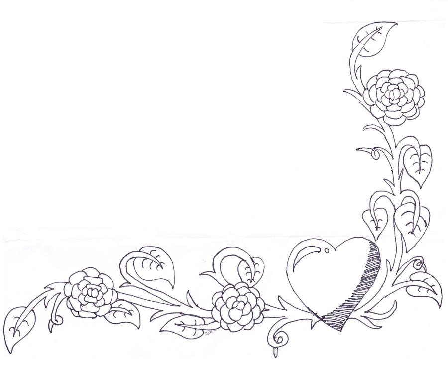 Floral Heart Image Border (no Color) By Artman101 On