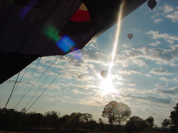 Balloons rise as the sun sets