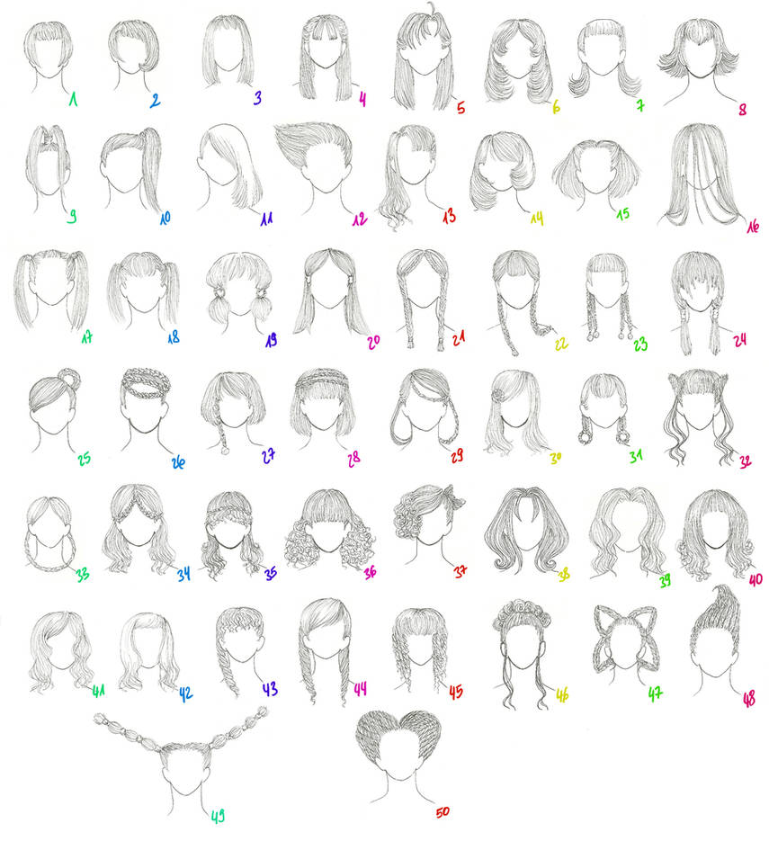 50 Female Anime Hairstyles By Anaiskalinin On Deviantart