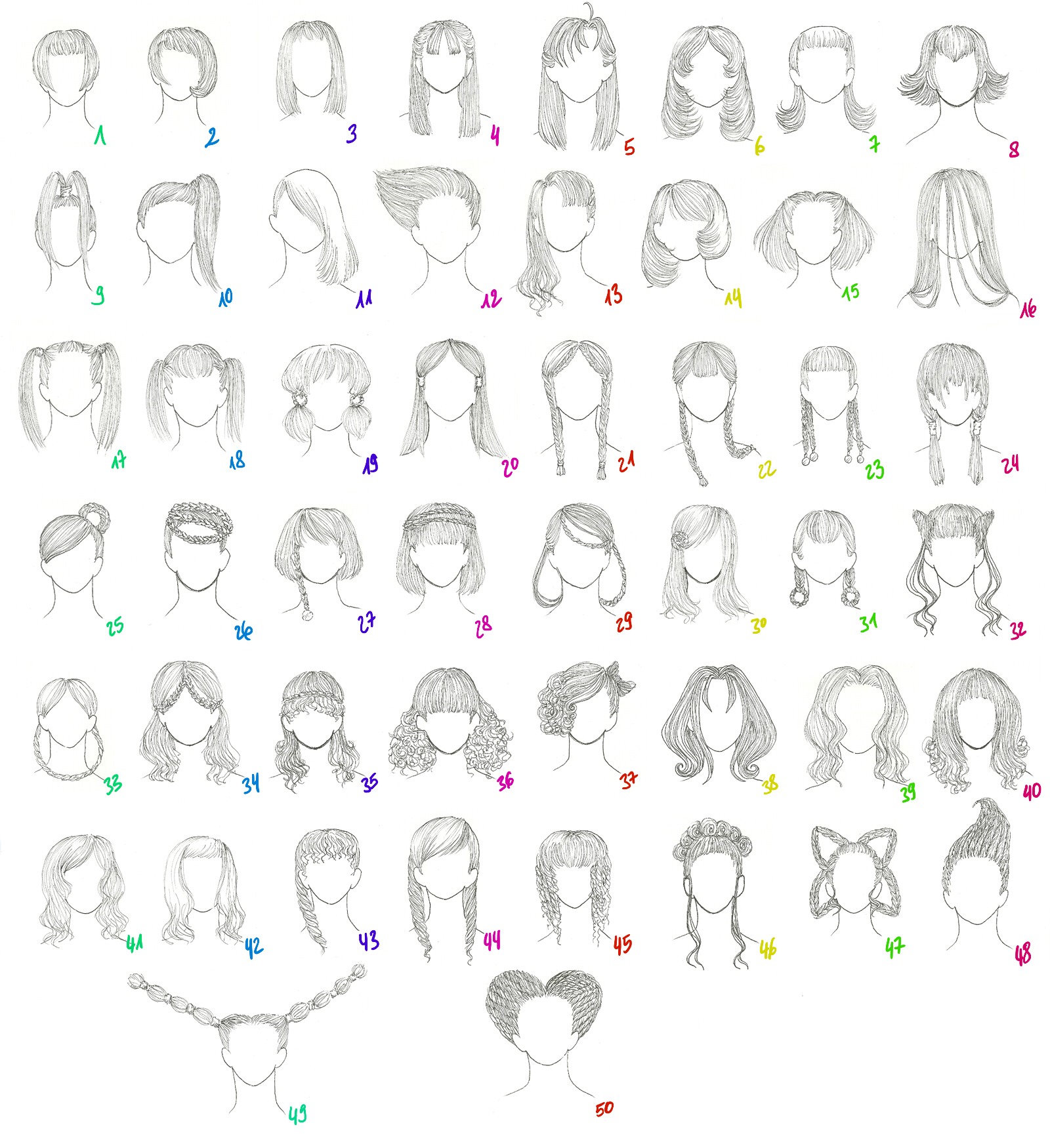 50 Female Anime Hairstyles by AnaisKalinin