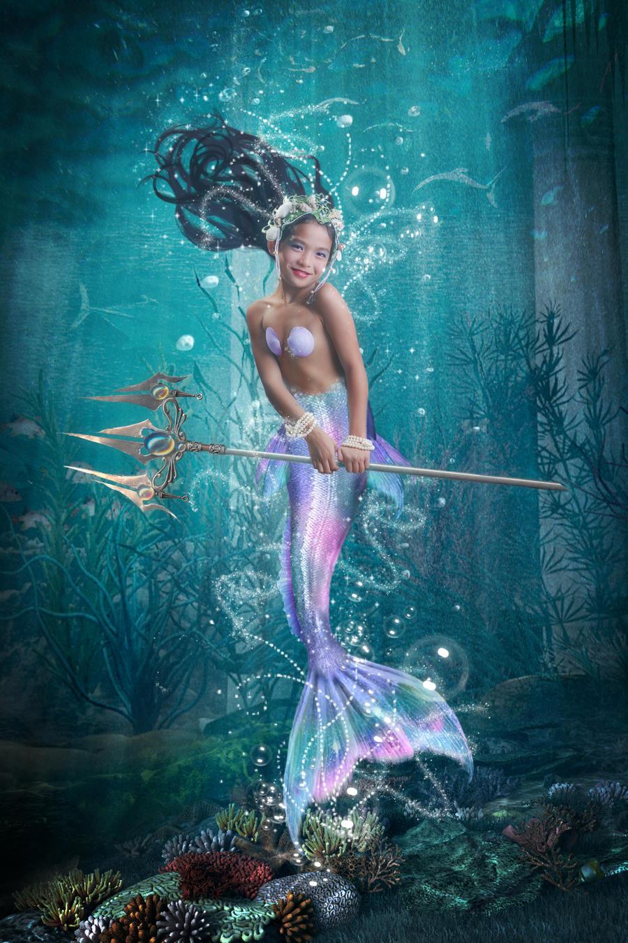 art nude mermaid Breasted
