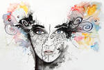 Abstract Watercolour Portrait 'Lost in everything'