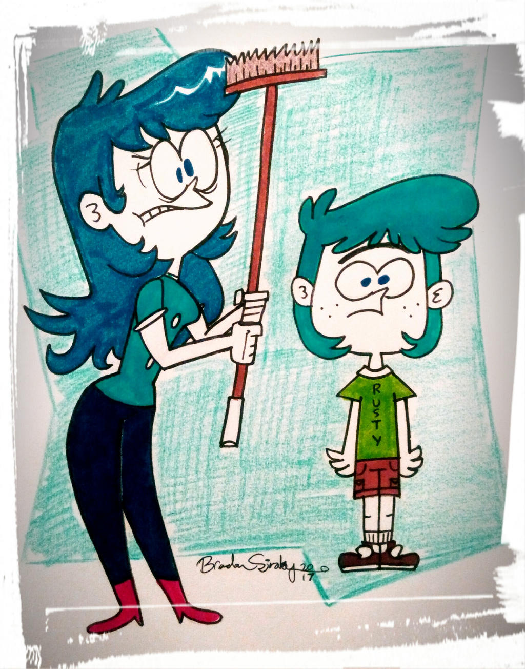Neurotic Lady and Her Son by rachetcartoons