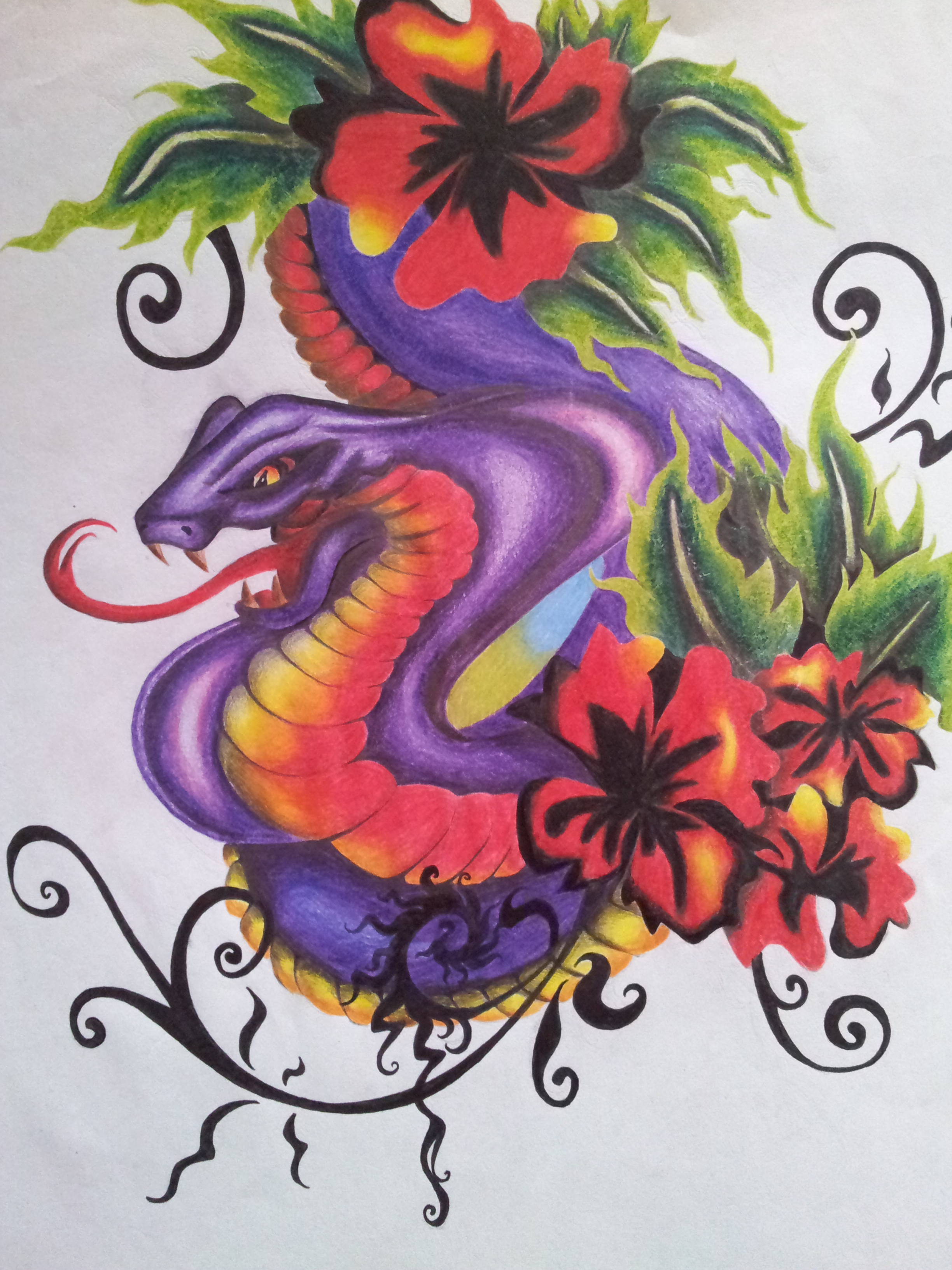 tattoo snake colour design by cassandrawilson on deviantart