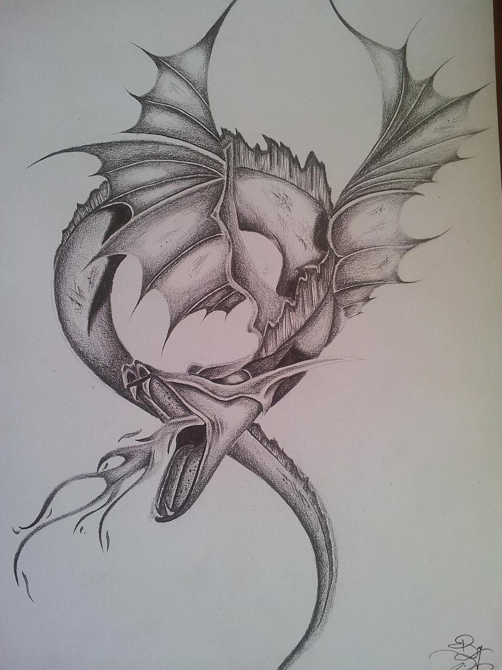 Fantasy dragon pencil drawing realistic by for Cool fantasy drawings