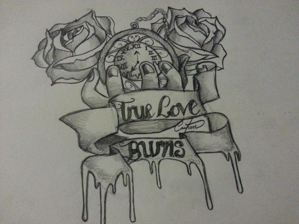 True love burns tattoo pencil roses scrolls by cassandrawilson