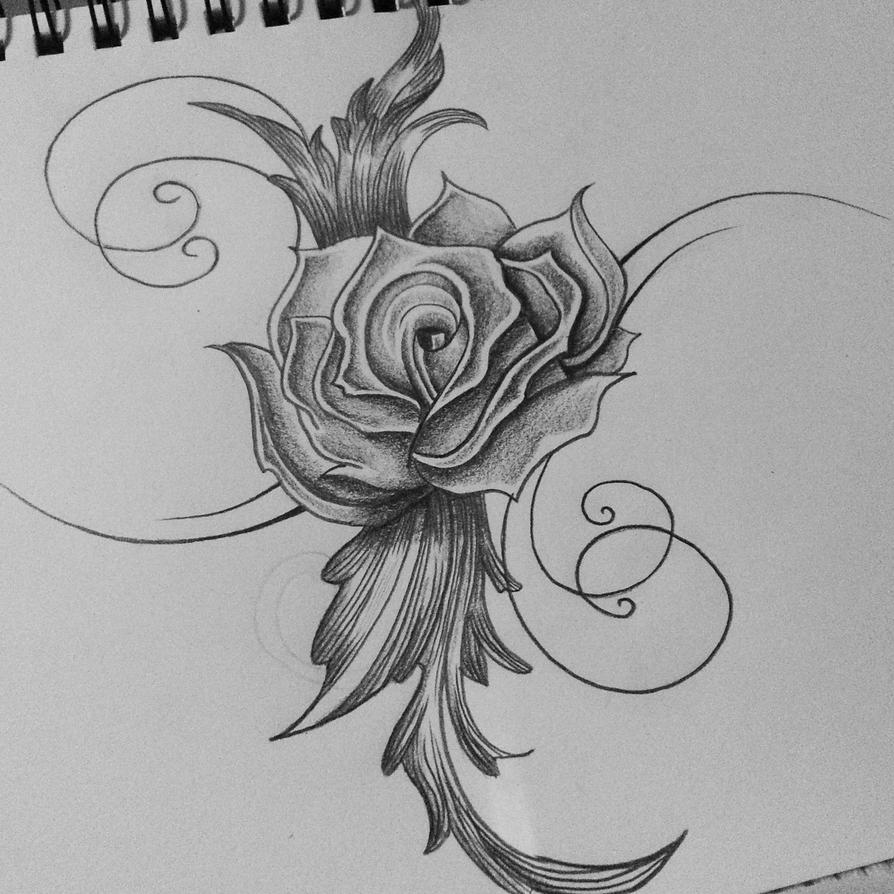 Rose tattoo tribal drawing cassandrawilsonenvyd by for Cool rose drawings