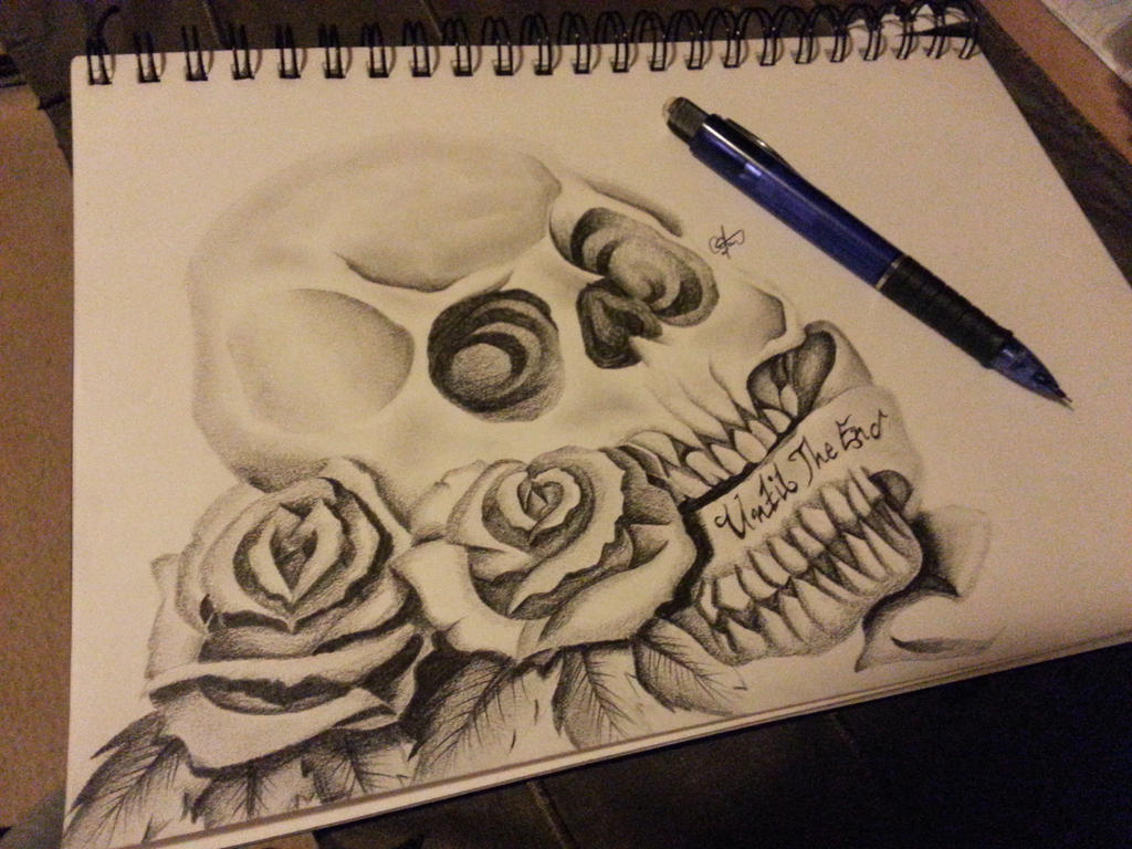 Black And White Rose And Skull Tattoos Skull And Roses Tattoo Drawing