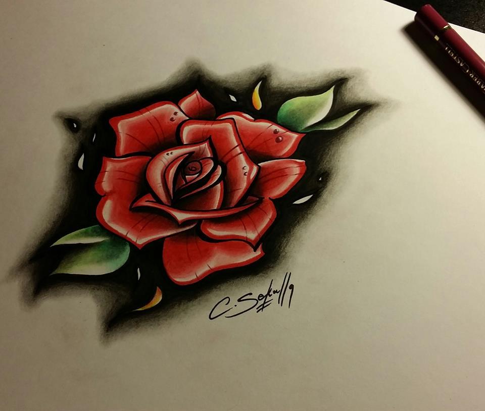 376acfb18b10f Neo-Trad Rose Drawing by CassandraWilson on DeviantArt