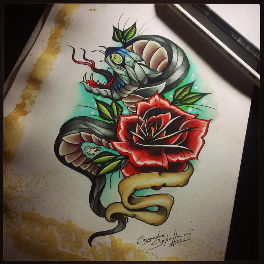 Neo-Trad Snake And Rose Tattoo Design By CassandraWilson