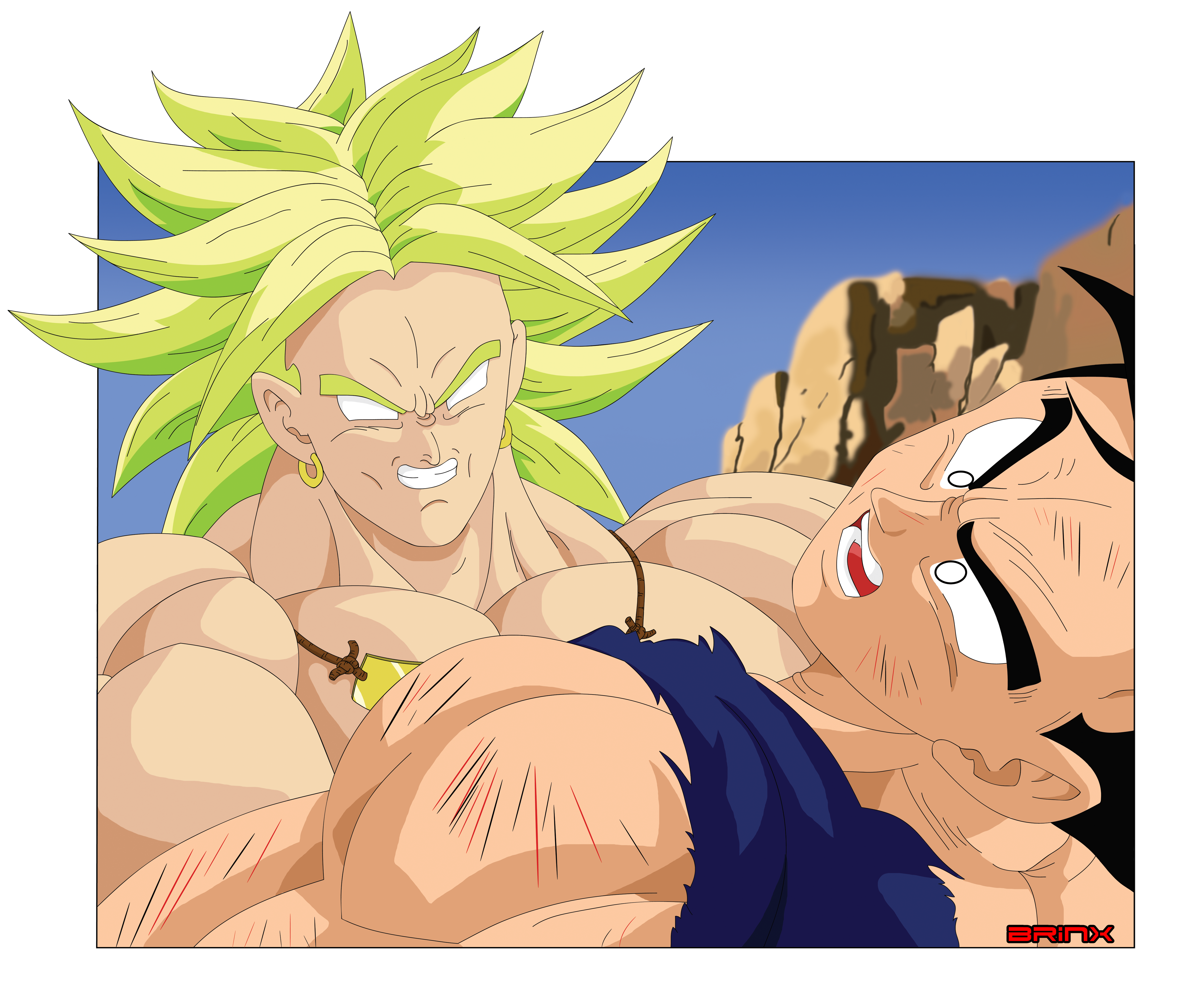LSSJ Broly putting the squeeze on Gohan by Brinx-dragonball