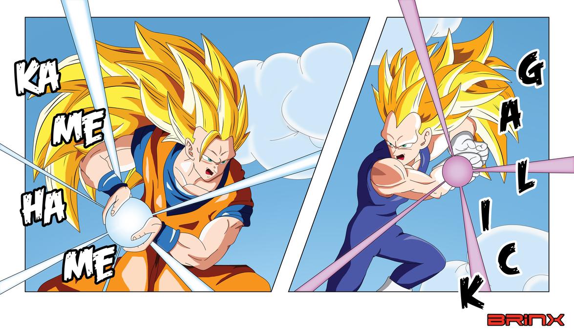 SSJ3 Goku Vs Vegeta By Brinx Dragonball