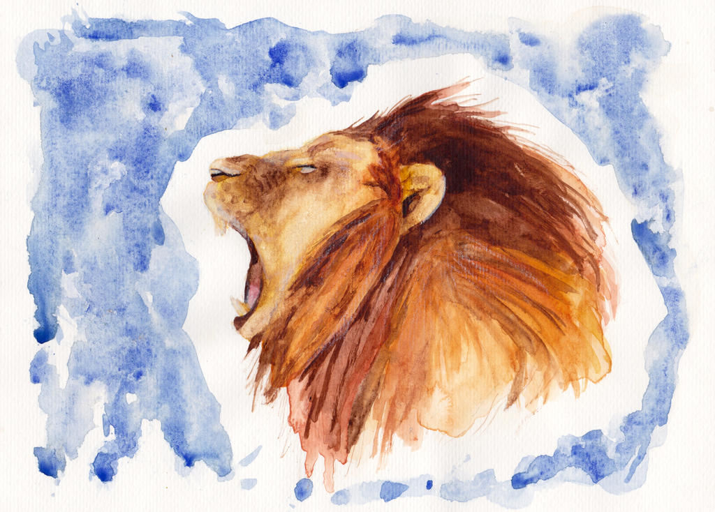 Roaring Lion - watercolour by TeresaFano