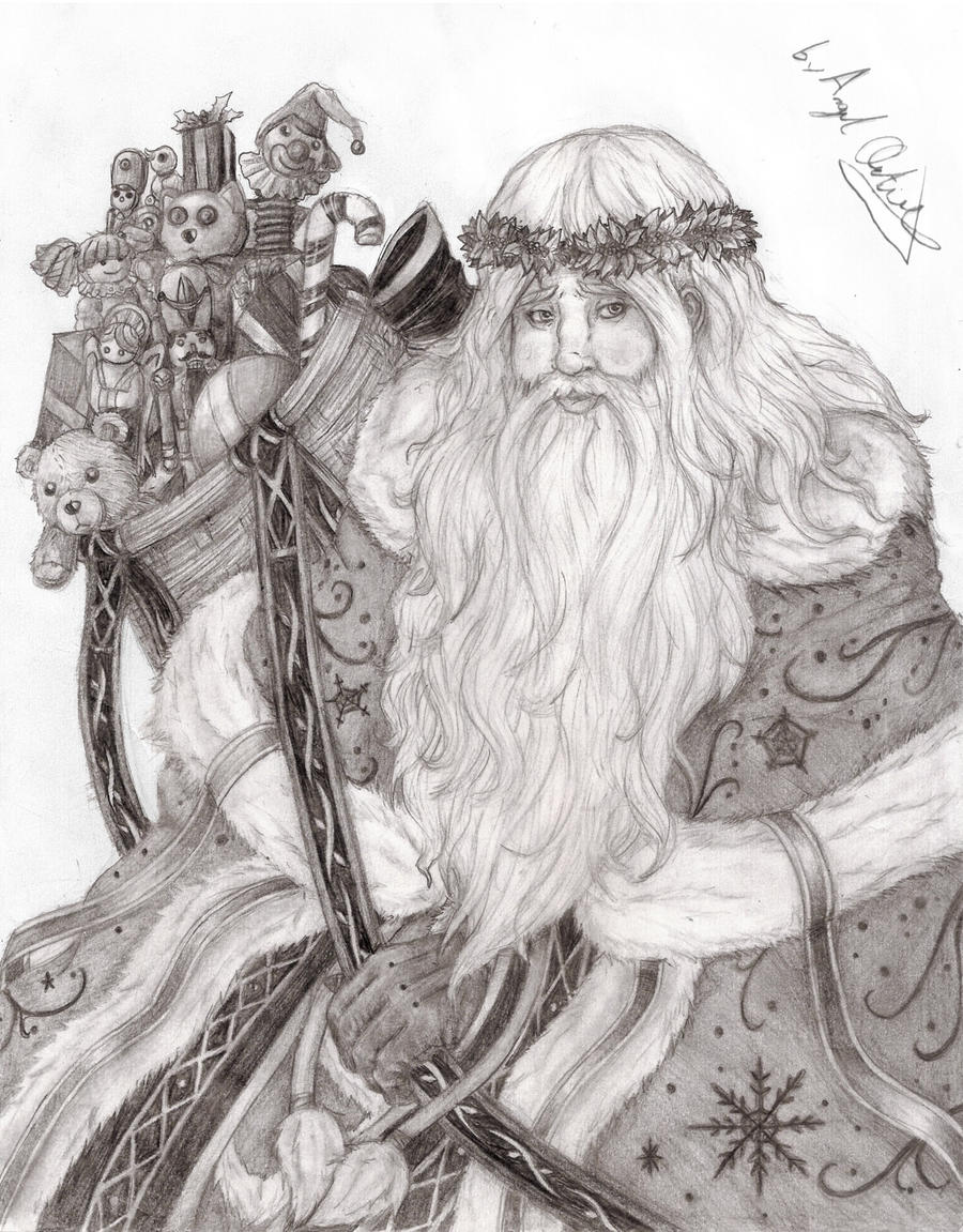 father christmas pencil art by mavericktears