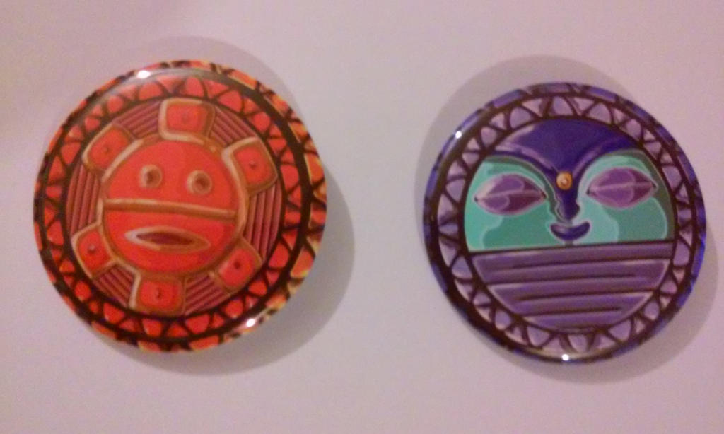 Taino Sun and Moon Button Set by MaverickTears