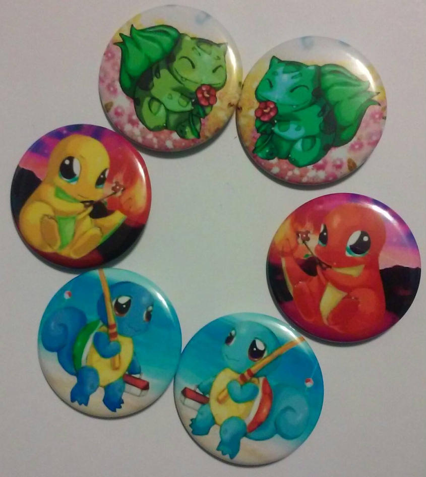 Pokemon Starters Generation 1 [Button Set} by MaverickTears