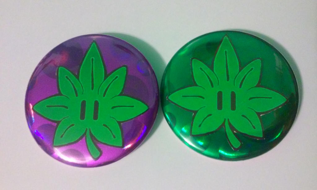 Ganja 1UP [Set of 2 buttons, Pinback 2.25 inches] by MaverickTears