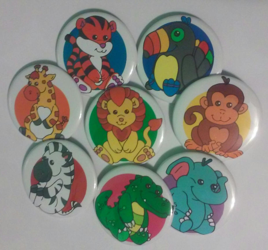 Baby Safari[Set of 8 buttons, Pinback 2.25 inches] by MaverickTears