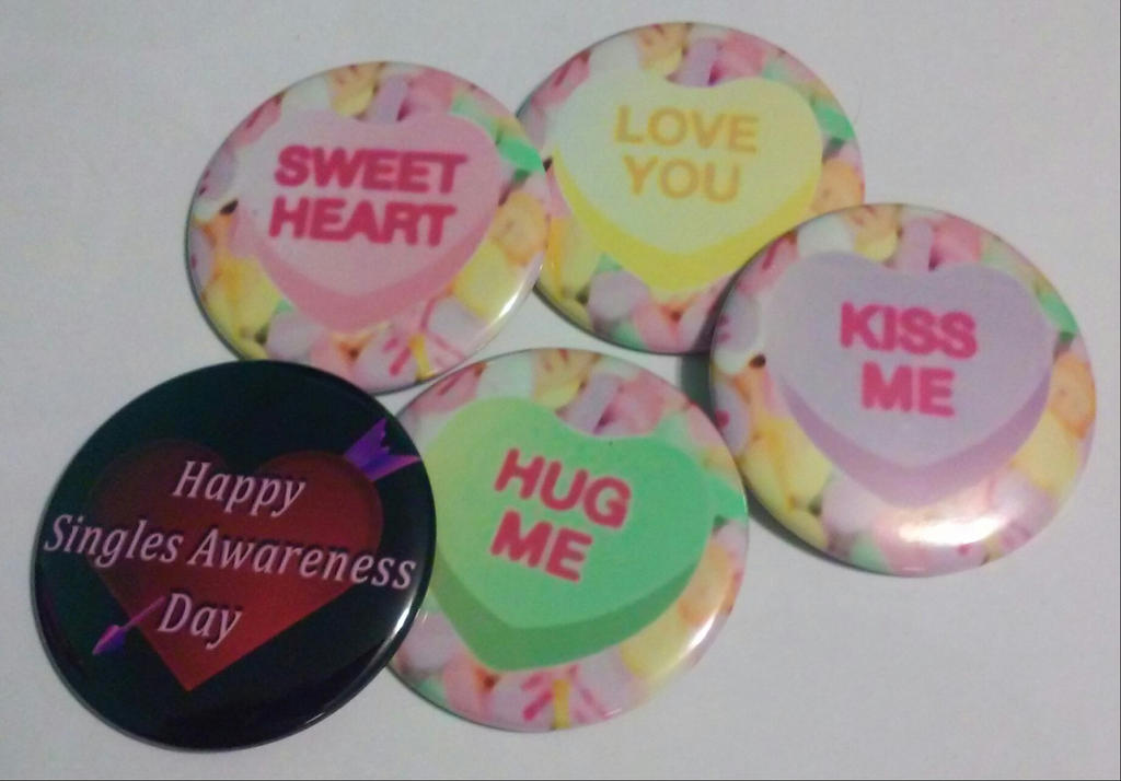 Candy Hearts-Set of 5 buttons, Pinback 2.25 inches by MaverickTears