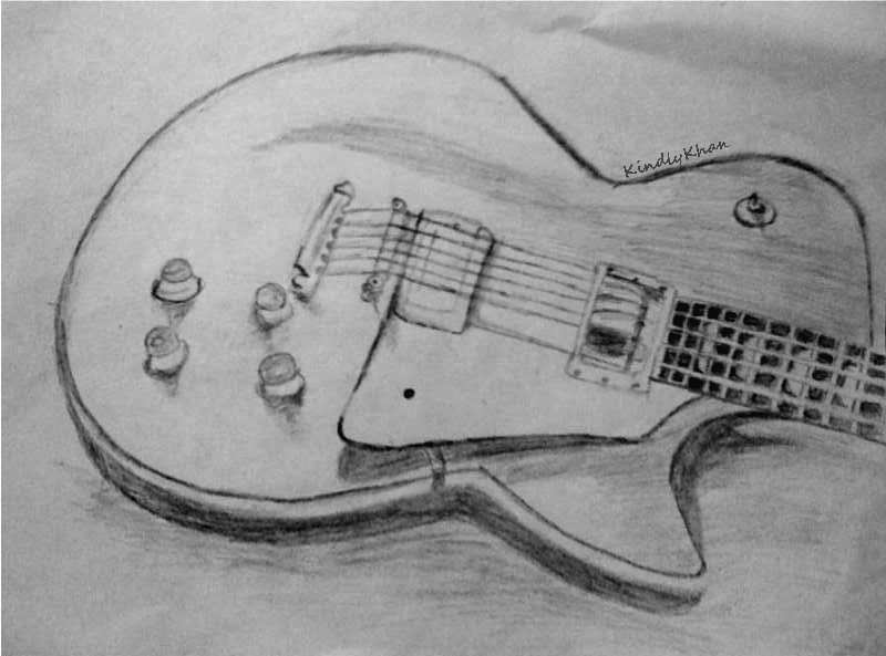 Guitar Drawing In Penc...