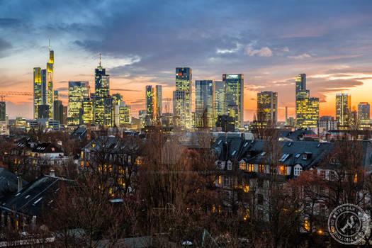 Frankfurt skyline with some light