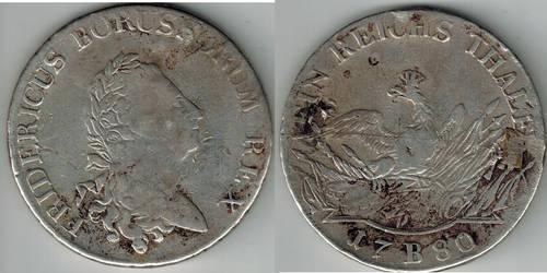 1 Thaler Kingdom of Prussia Friedrich 1780