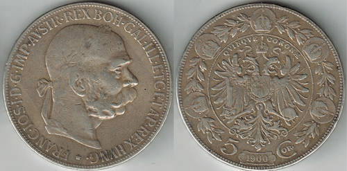 Austria-Hungary 5 corona Emperor Franz Joseph 1900