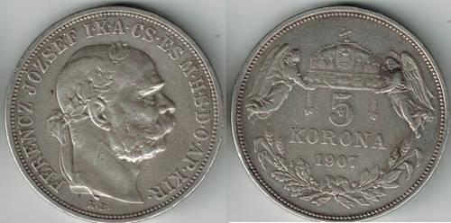 Austria-Hungary 5 korona Emperor Franz Joseph 1907