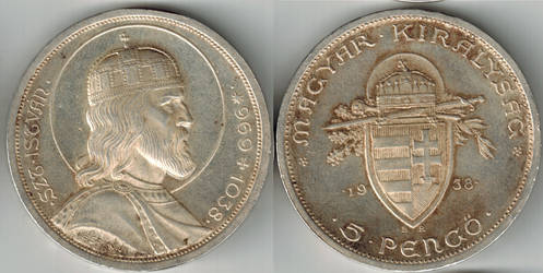 Hungary 5 pengo 1938