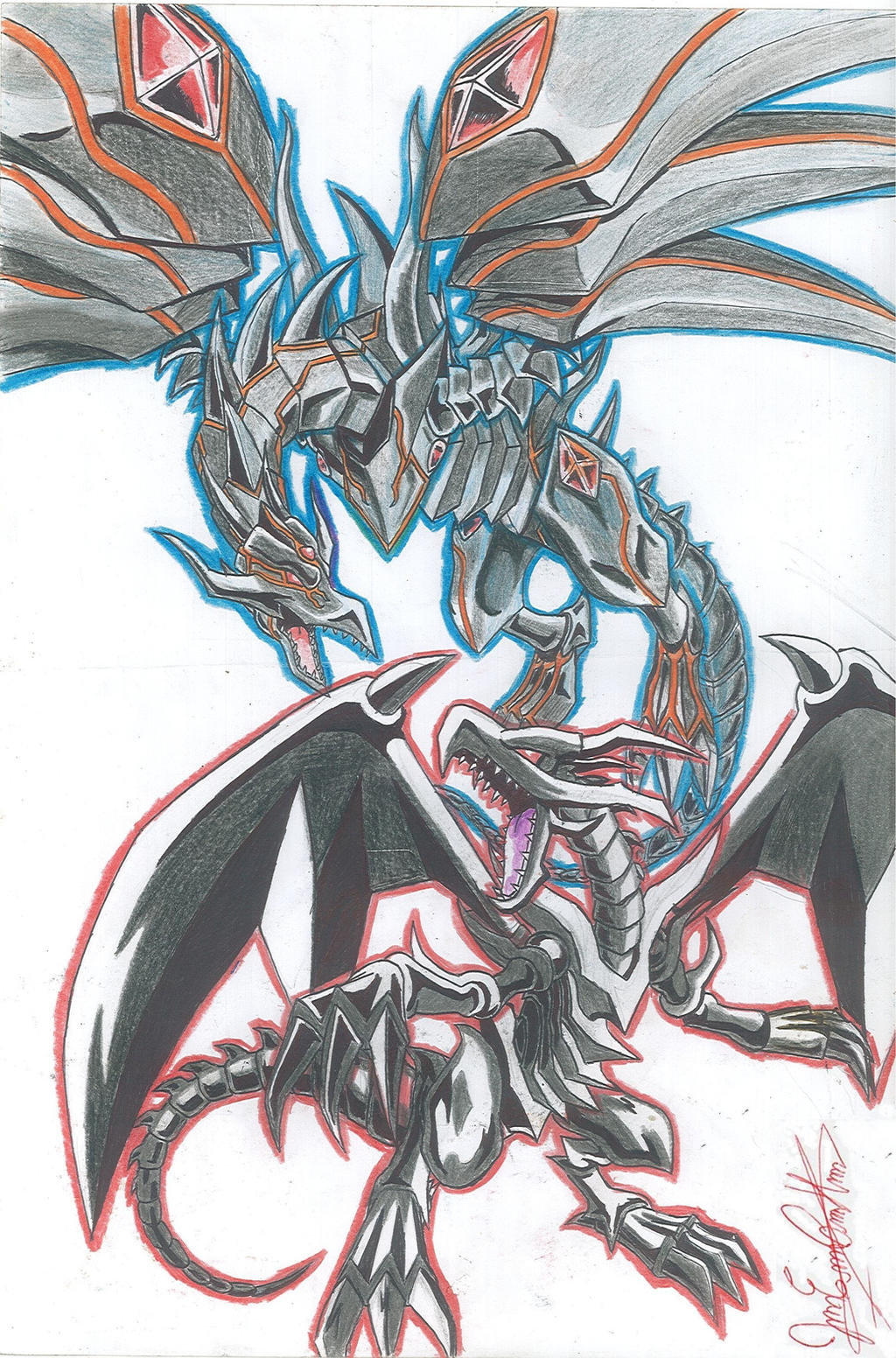 red eyes black dragon and red eyes darkness dragon by joakoart25