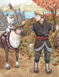 Kristoff, Olaf and Sven by taylorssart