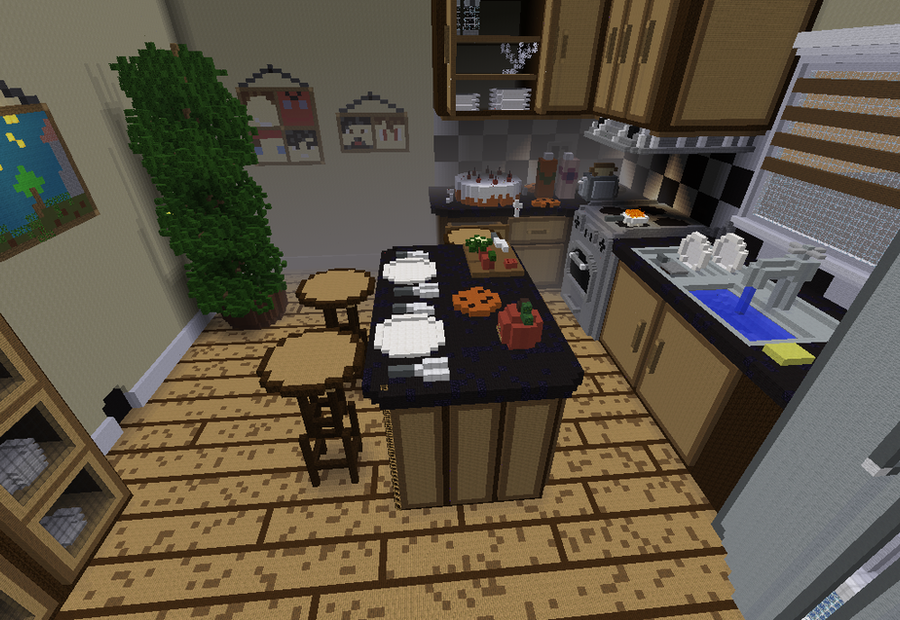 Life size kitchen in minecraft by herobrinelover37 on for Kitchen ideas minecraft