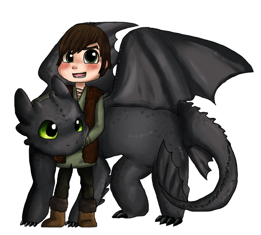 Toothless And Hiccup by Hibouette