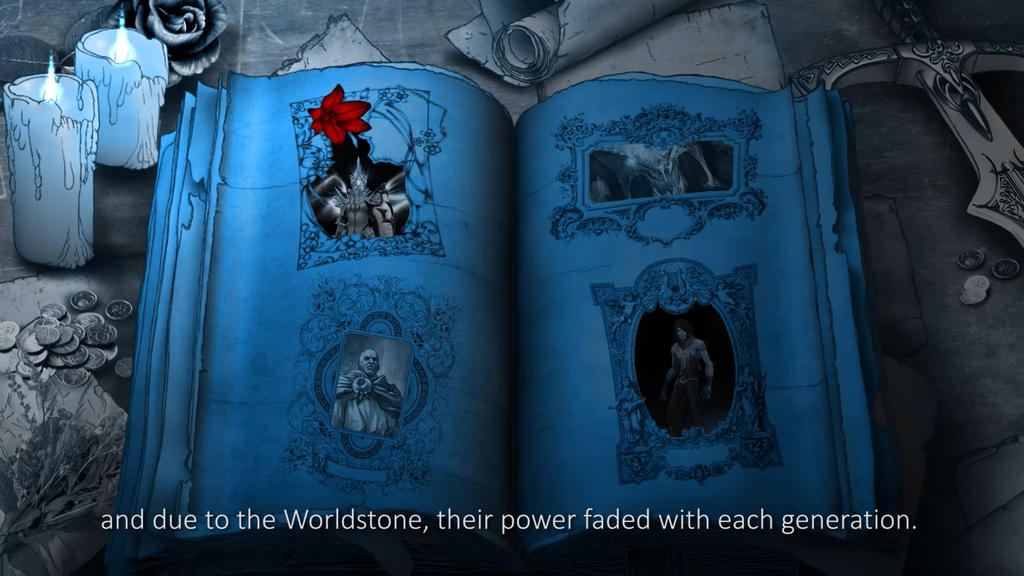 Hand drawn book with ingame animations.