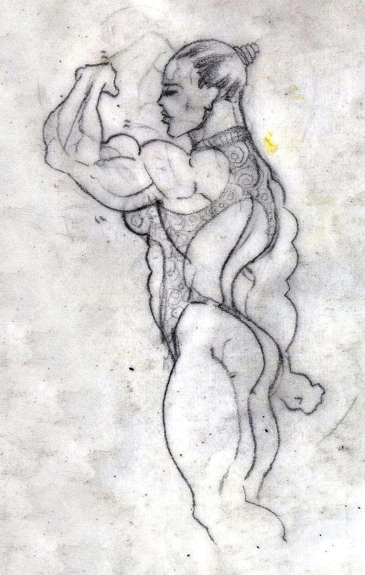 Flexing biceps by Musclelicker