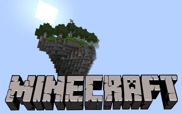 Minecraft Wallpaper  flying island by oskar1300