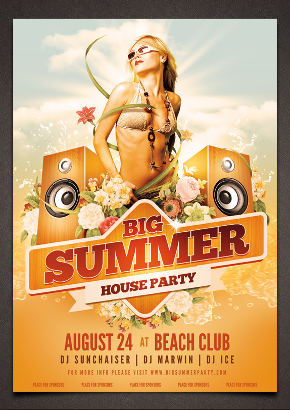 Big Summer Party Poster PSD Template by moodboy on DeviantArt