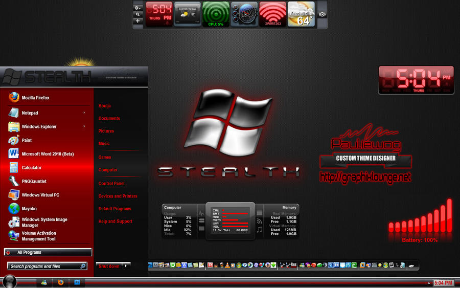 Stealth Red Windows 7 Theme by pauliewog260