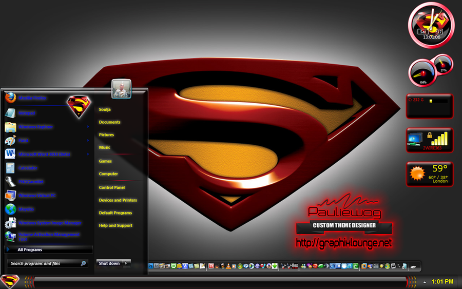Superman Black Windows 7 Theme by pauliewog260