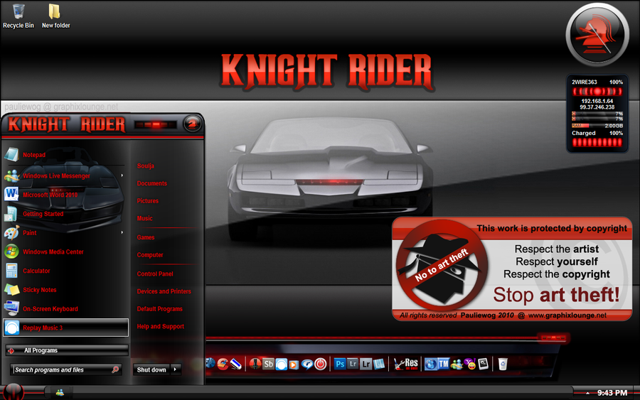 Knight Rider Windows 7 Theme by pauliewog260