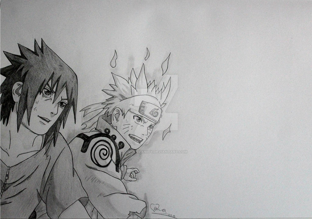 Naruto and Sasuke smile by ViivaVanity