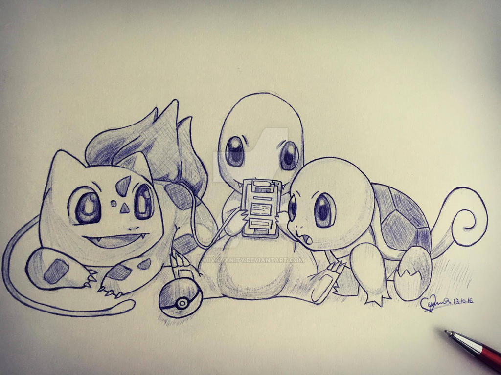 Pokemon starter sketch by ViivaVanity