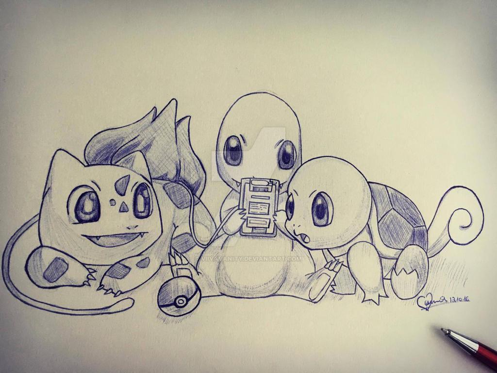 Pokemon starter sketch by ViivaVanity
