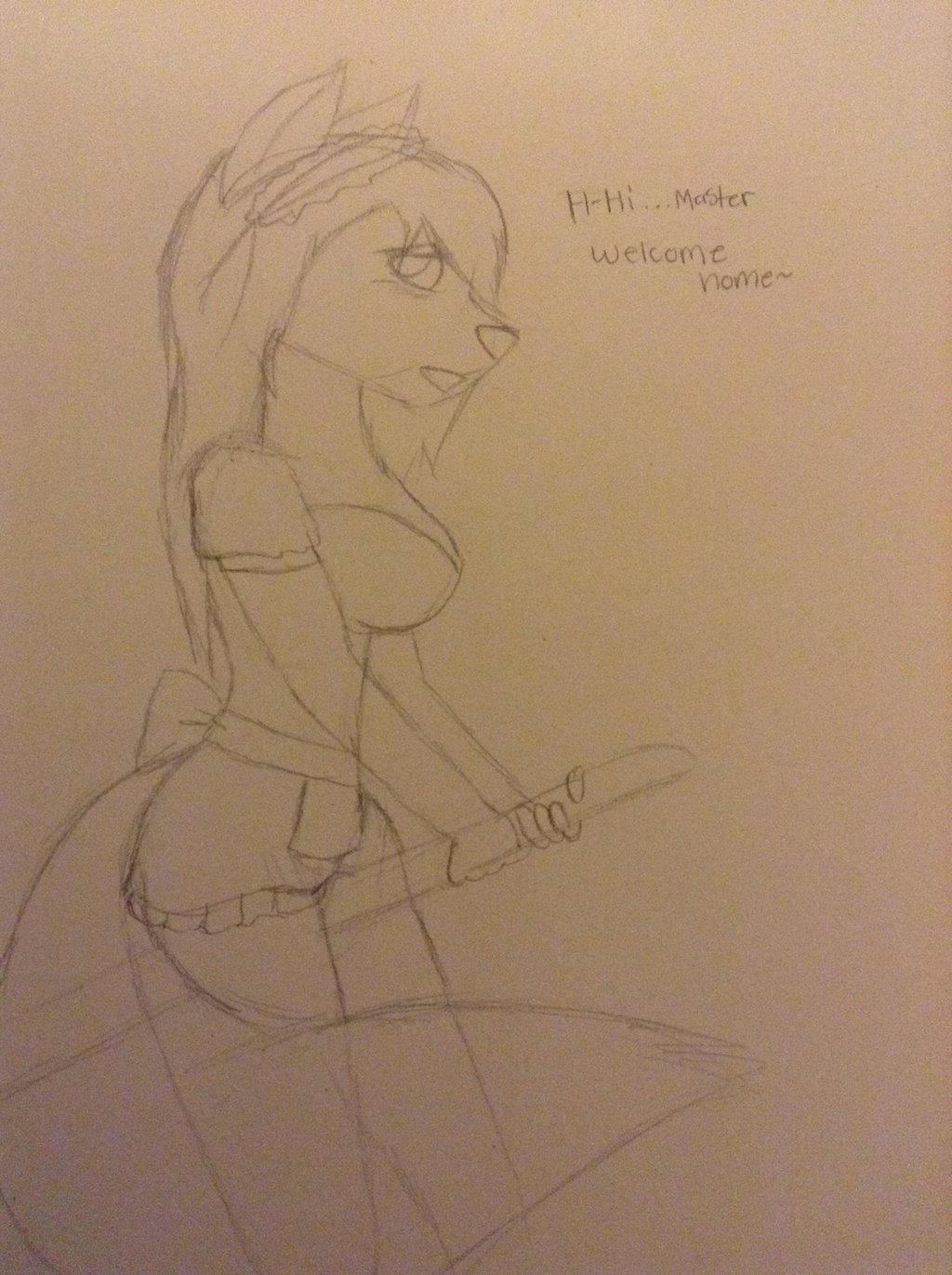 Sketch-Tiffany the maid by Pinkwolfly