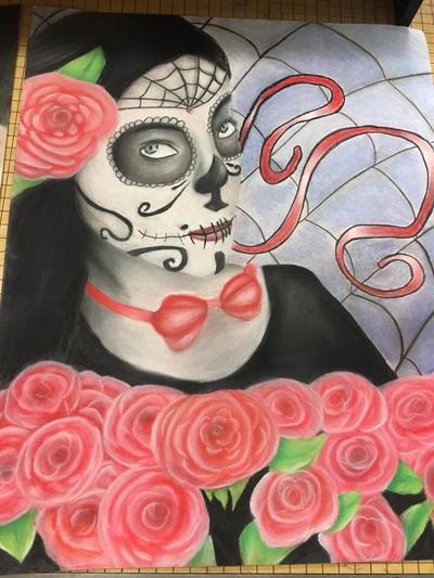 Sugar skull  by Pinkwolfly