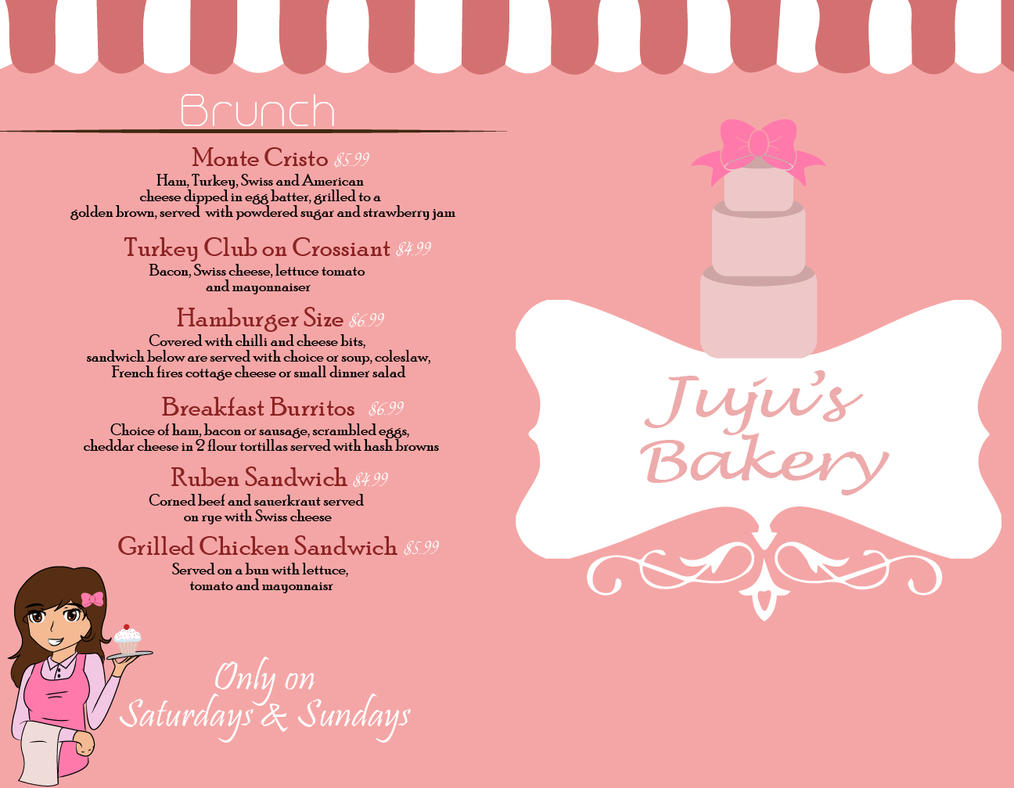 Menu Design front/Back by Pinkwolfly