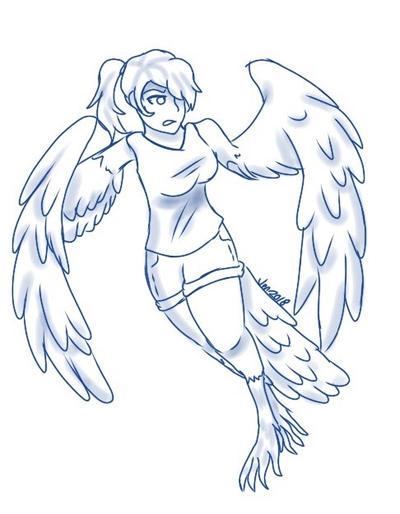 Wip-Bird Girl AU by Pinkwolfly