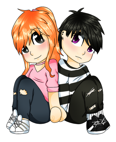 PC-Eui and Mikan by Pinkwolfly