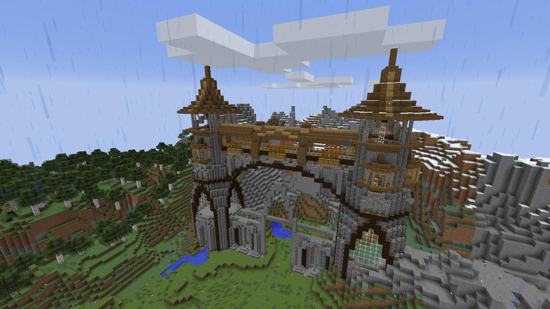 Minecraft Mountain Castle (progress 2) by eapatrick on ...