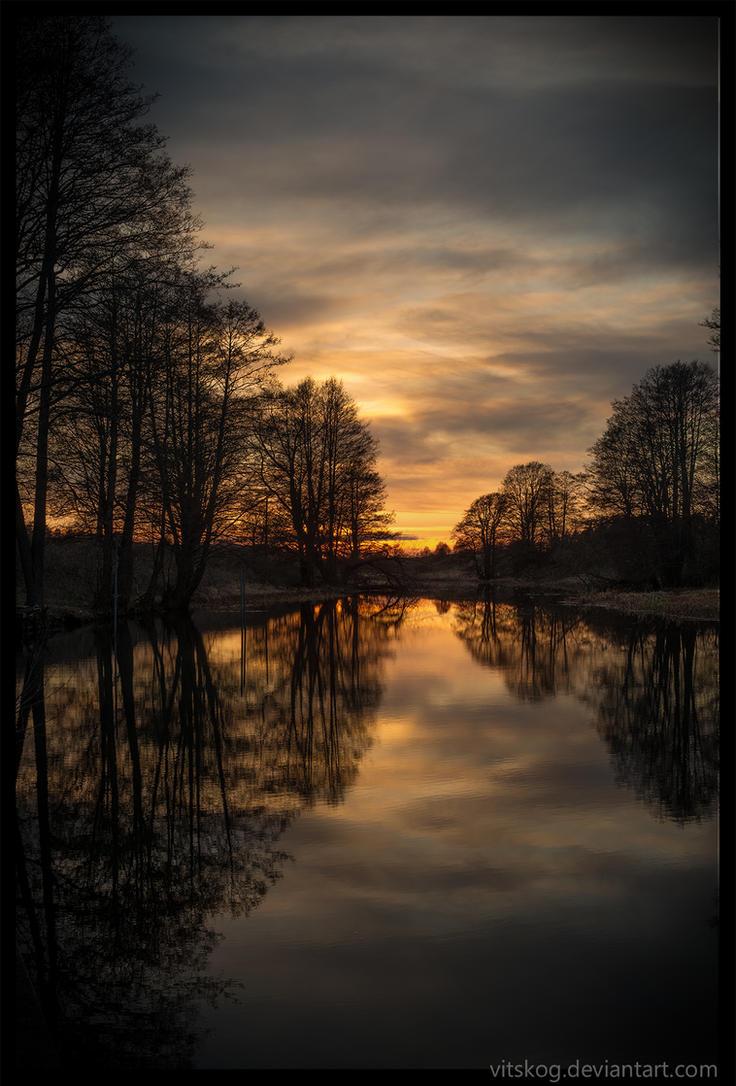 Fyris river In April by Vitskog